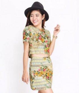 Set áo và chân váy hoa style ZID26815
