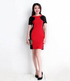 Đầm công sở đen pha đỏ DN ZID13805