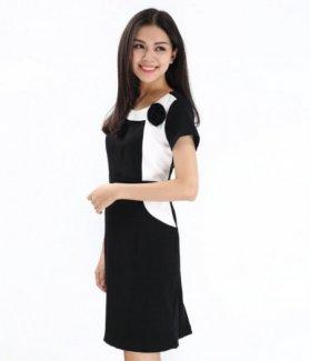 Đầm nữ phối hoa vai màu đen ZID9007