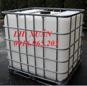 Bồn nhựa IBC, tank nhựa 1000 lít, tank nhựa có khung thép bao quanh thùng, tank nhựa cũ đựng hóa chất