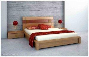 Giường ngủ gỗ kiểu Nhật, được làm từ 100% gỗ tự nhiên, thời gian bảo hành 4 -5 năm