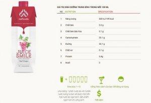 Juice Smile được người tiêu dùng tại thị trường nội địa biết đến là dòng sản phẩm nước ép trái cây cô đặc với 5 vị trái cây nguyên chất: chanh leo & dứa, lựu, cam, nho, dứa được sản xuất và đóng gói tại nhà máy FTN (Tây Ban Nha), đạt chuẩn chất lượng Châu Âu. Mặc dù đến chậm hơn các sản phẩm nước ép cô đặc khác trên thị trường nội địa nhưng ngay trong ngày đầu tiên chào hàng Juice Smile của Nafoods Group được đánh giá là sản phẩm tiện lợi, dễ dàng sử dụng, tiết giảm nhân công, tiết giảm chi phí nguyên liệu pha chế. Đặc biệt hơn, người sử dụng có thể tự do uống theo sở thích ( độ đậm, nhạt, đặc, loãng…tuỳ theo sở thích bạn có tự do pha chế) và Juice Smile được đánh giá ngon hơn khi uống lạnh. Giá bán: 150.00 VND