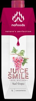 Juice Smile được người tiêu dùng tại thị trường nội địa biết đến là dòng sản phẩm nước ép trái cây cô đặc với 5 vị trái cây nguyên chất: chanh leo & dứa, lựu, cam, nho, dứa được sản xuất và đóng gói tại nhà máy FTN (Tây Ban Nha), đạt chuẩn chất lượng Châu Âu. Mặc dù đến chậm hơn các sản phẩm nước ép cô đặc khác trên thị trường nội địa nhưng ngay trong ngày đầu tiên chào hàng Juice Smile của Nafoods Group được đánh giá là sản phẩm tiện lợi, dễ dàng sử dụng, tiết giảm nhân công, tiết giảm chi phí nguyên liệu pha chế. Đặc biệt hơn, người sử dụng có thể tự do uống theo sở thích ( độ đậm, nhạt, đặc, loãng…tuỳ theo sở thích bạn có tự do pha chế) và