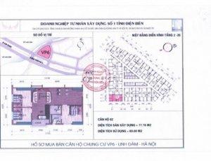 Bán căn 3PN,2WC, 77.76 m2 chung cư VP6 Linh...