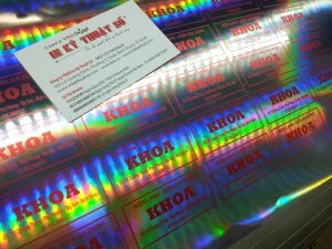 In decal 7 màu làm tem nhãn cho cửa hàng Điện lạnh - Điện gia dụng Khoa - khách hàng của In Kỹ Thuật Số