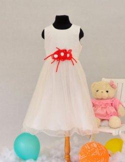 Đầm bé gái 3 bông hồng trắng