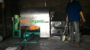 Máy rang đậu này sấy sử dụng nhiên liệu than- Máy rang hạt đa năng VinaOrganic