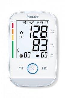 Máy đo huyết áp điện tử bắp tay Beurer BM45 màn hình chiếu sáng nền màu trắng