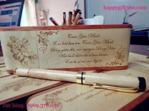 Bút gỗ khắc tên, Bút gỗ khắc chữ - Qùa may mắn - Happygift360