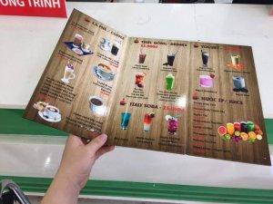In thực đơn quán cà phê Bami Coffee | Là mẫu thực đơn kiểu mới, chất liệu PP cán màng bóng, bồi format, giá in loại thực đơn này tương đối rẻ hơn các mẫu thực đơn nhựa