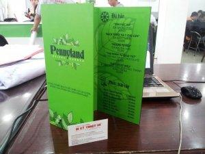 In menu cho quán cà phê Pennyland Drinks & Garden | In menu gấp 3, in menu PP bồi format với PP cán màng mờ | Quán cà phê Khu vườn bình yên tại Thủ Đức, TPHCM