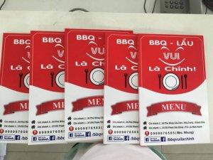 In thực đơn quán BBQ - Lẩu tại Bình Thạnh, TPHCM   In thực đơn số lượng ít từ 5 - 10 cuốn tại TPHCM cùng Công ty TNHH In Kỹ Thuật Số - Digital Printing Ltd