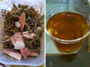 Bạch hoa xà thiệt thảo khô và nước pha, uống giải độc gan như một loài trà thanh nhiệt giải độc cho cơ thể