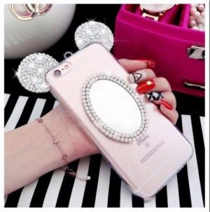 Ốp lưng Iphone Gương trang điểm tai chuột Mickey bằng silicond dẻo