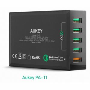 Sạc Aukey PA-T1 5 cổng USB chuẩn Quickcharge 2.0 (Đen)