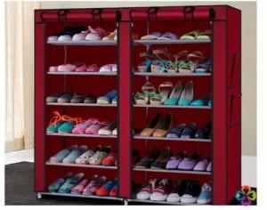 Tủ giày 6 tầng 12 ngăn bằng vải, ngăn nắp