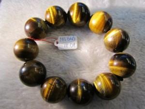 Vòng đeo tay đá Mắt Hổ Vàng thiên nhiên hạt tròn 20ly