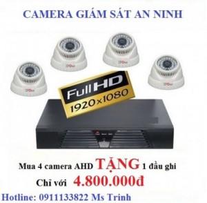 Trọn bộ 4 camera quan sát TẶNG đầu ghi giá...