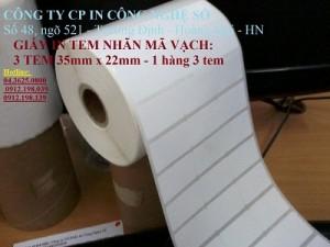 cuộn giấy in mã vạch 3 tem 35mm x 22mm