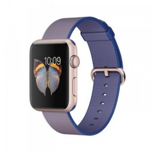 Apple - Apple Watch Sport 42mm Rose Gold Aluminum Case - Royal Blue Woven Nylon Band