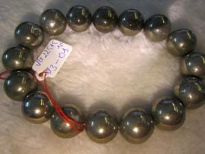 Trang sức phong thủy nổi tiếng về trừ tà  - Vòng đeo tay đá Vàng Găm Pyrit 100% thiên nhiên hạt tròn 12 ly