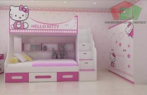 Giường tầng Hello Kitty, giường tầng trẻ em Hello Kitty, Nội thất trẻ em F21,