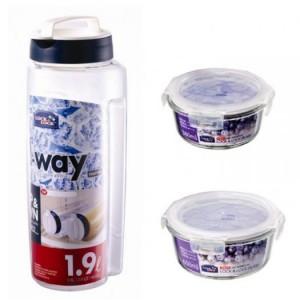 Bộ 2 hộp thủy tinh và 1 bình đựng nước Lock and Lock
