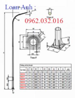 Cột đèn cao áp 8m, 9m / cột thép bát giác côn 7m liền cần đơn