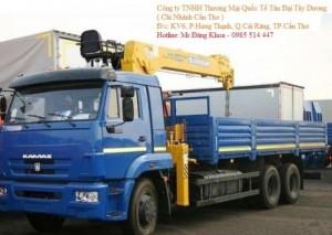 Xe tải thùng lững cẩu 5 tấn, 6 đoạn.