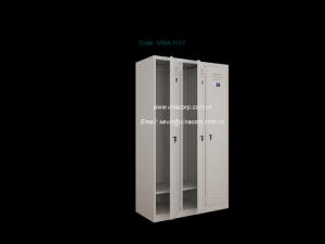 Tủ locker 3, 1 cánh Size (mm): 1093W x 457D x 1830H Chất liệu: kim loại, gỗ