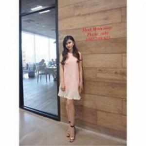 Đầm yếm nơ chân dập ly -  Minh Minh Fashion