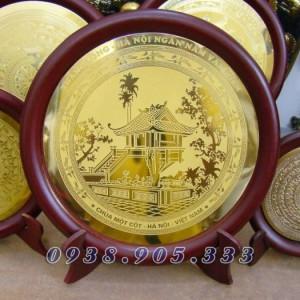 Đĩa đồng ăn mòn HỒ CHÍ MINH,KHUÊ VĂN CÁC,CHÙA MỘT CỘT làm quà tặng sự kiện,đối tác