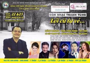 Bán vé đêm nhạc Thanh Tùng  Lối cũ ta về ngày 22;23/6 tại Hà Nội