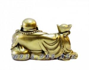 Tượng di lạc bê thỏi vàng kim nguyên bảo dài 23cm