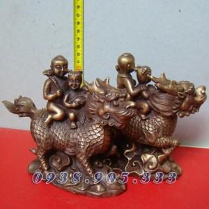 Kỳ lân Tống Tử, hai trẻ cưỡi kỳ lân, cầu con quý tử,  Vật phẩm phong thủy, chất liệu đồng Các KT: cao 13cm
