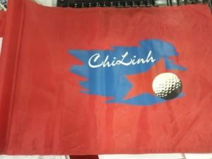 Cờ golf in logo, thêu logo lên cờ green golf