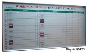 Bảng lịch công tác tháng 1,2 x 2m