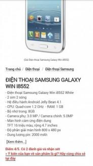 Samsung  galaxy  win. hàng mới  giá  hợp lý
