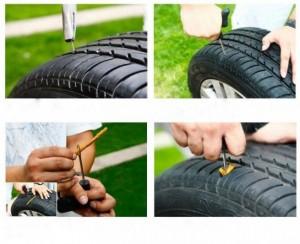 Bộ dụng cụ vá xe không ruột bao gồm: 1 cây gắp đinh, 1 cây chịu lực để đưa cao su vào, 1 chai keo và 5 cây cao su, giúp bạn có thể tự tay xá xe khi bị lủng lốp vô cùng tiện dụng.