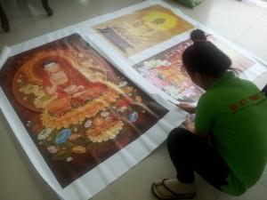 In tranh Phật giáo 'Tây Phương Cực Lạc' với in tranh khổ lớn chất liệu canvas