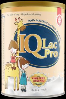 IQLac Pro - Sản phẩm dinh dưỡng dành cho trẻ từ 2 đến 9 tuổi.  Điều kỳ diệu trong cuộc sống là khi có một em bé chào đời, mong con khỏe mạnh, thông minh, cao lớn luôn là ước mơ chính đáng bắt nguồn từ tình yêu vô hạn mà cha mẹ dành trọn cho con. Một chế độ chăm sóc khoa học, đặc biệt là dinh dưỡng phù hợp là những yếu tố tác động để con phát triển một cách tốt nhất.  IQLac Pro có thành phần chính là Bột Sữa Nguyên Chất giúp:  * Phát triển chiều cao - Axit Pantothenic/ Canxi/ Photpho/ Vitamin D3  * Tăng cường sức đề kháng - Vitamin nhóm B/ Vitamin C&E/ Kẽm  * Cải thiện tiêu hóa - FOS (Chất xơ hòa tan)