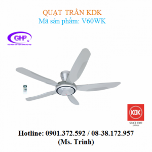 Quạt trần có remote KDK V60WK (xám bạc)