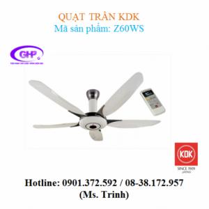 Quạt trần có remote KDK Z60WS (xám bạc, trắng)