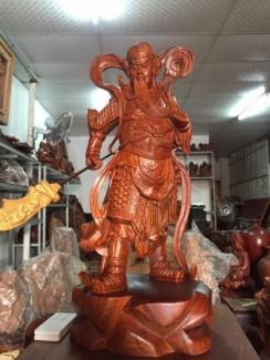 Quan Công Gỗ Hương-  Đẹp Tuyệt- Cao 60x24x25cm