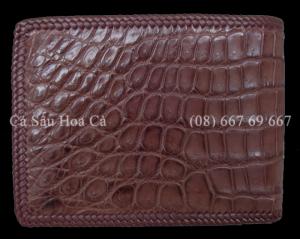 Bóp nam cá sấu Hoa Cà da bụng đan viền thủ...