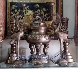 Đỉnh thờ cúng dơi phúc cao 60cm đồng giả cổ