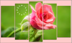 Tranh ghép đồng hồ hoa hồng treo tường nghệ thuật độc đáo