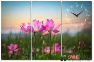Tranh ghép đồng hồ hoa sen