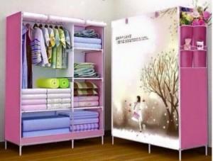 Xả hàng Tủ vải 3D 2 buồng 6 ngăn Màu hồng