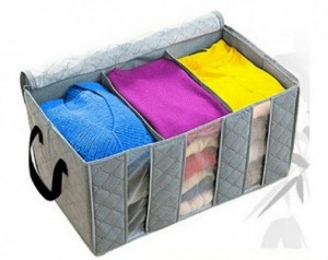 Túi đựng quần áo 3 ngăn vải than trúc 65L
